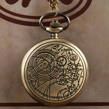 Free Shipping Bronze Doctor Who Style Fashion  Quartz Pocket Watch Best Gift