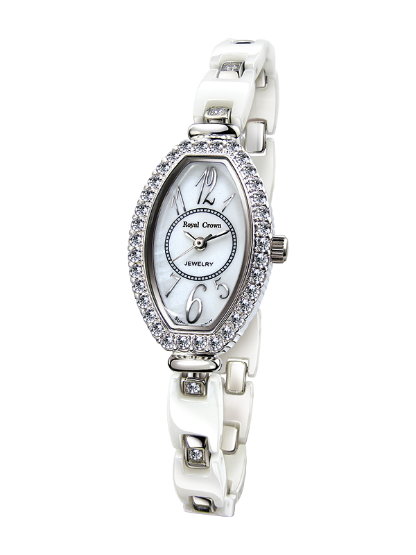 Royal Crown Jewelry Watch 63813C Italy brand Diamond Japan MIYOTA platinum ceramics Wristwatches Women Luxury Dress Watch royal crown jewelry watch 3850 italy brand diamond japan miyota platinum best fashion dress bracelet shell luxury rhinestones