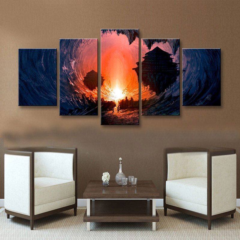 5 pieces high-definition print fantasy Art canvas oil painting poster and wall art living room picture DM-006 (3)