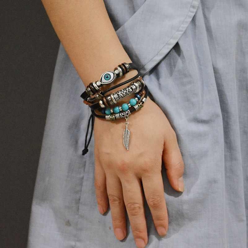 Punk turecki Evil Eye bransoletki nadgarstek kobieta skórzana bransoletka etniczna Vintage biżuteria dla kobiet mężczyzn Bijoux