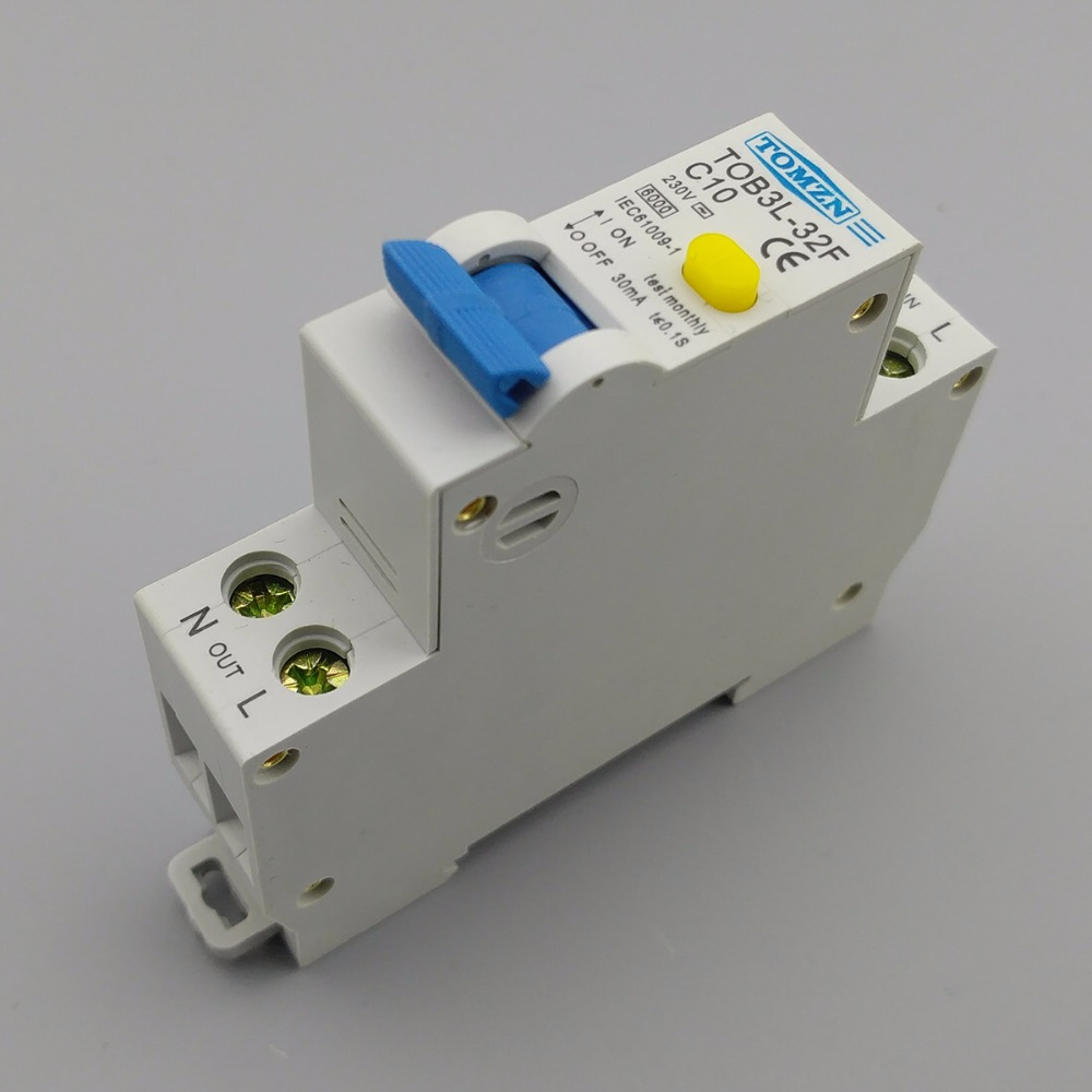 Superb 18MM RCBO 10A 1P+N 6KA Residual Current Differential Automatic Circuit  Breaker With Over
