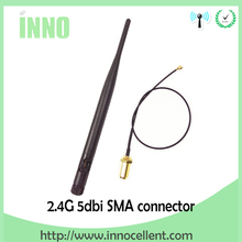 10pcs/lot 2.4GHz 5dBi WiFi Antenna For PCI Card USB Wireless Router + 21cm RP SMA Jack (Male Pin) to ufl./ IPX 1.13 Pigtai cable