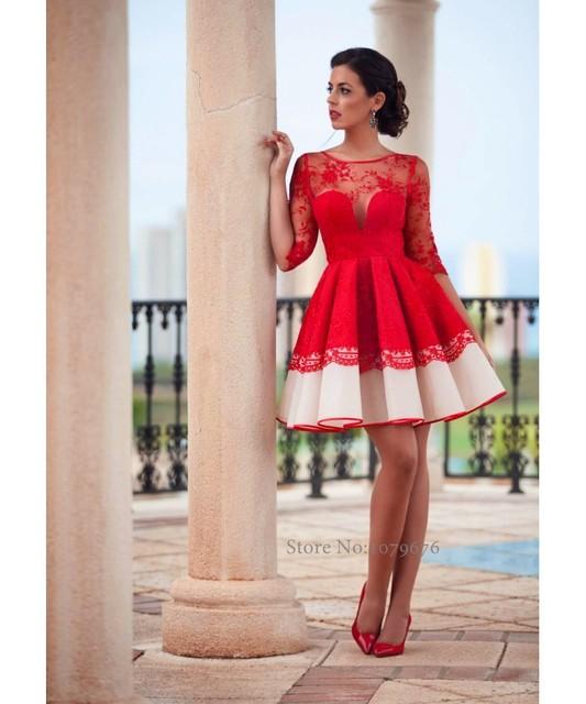 Transparente 2016 Rojo Vestido de Cóctel Corto Vestidos de Fiesta ...