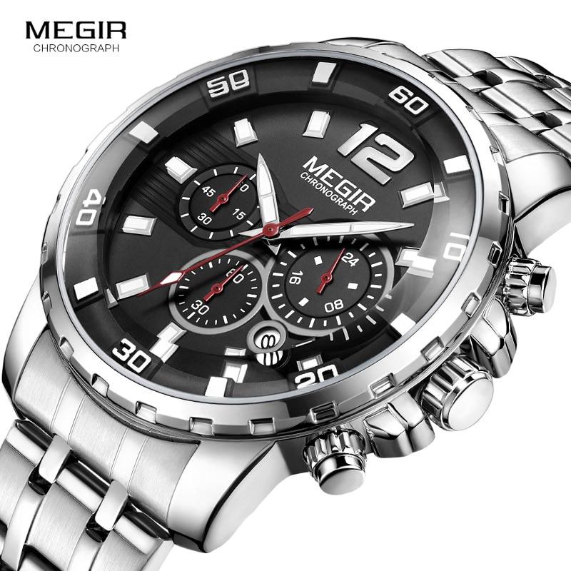 Megir Men's Chronograph Quartz Watches Stainless Steel Analogue Wristwatch for Man 24-hour Display Waterproof Luminous 2068G-1 цена и фото