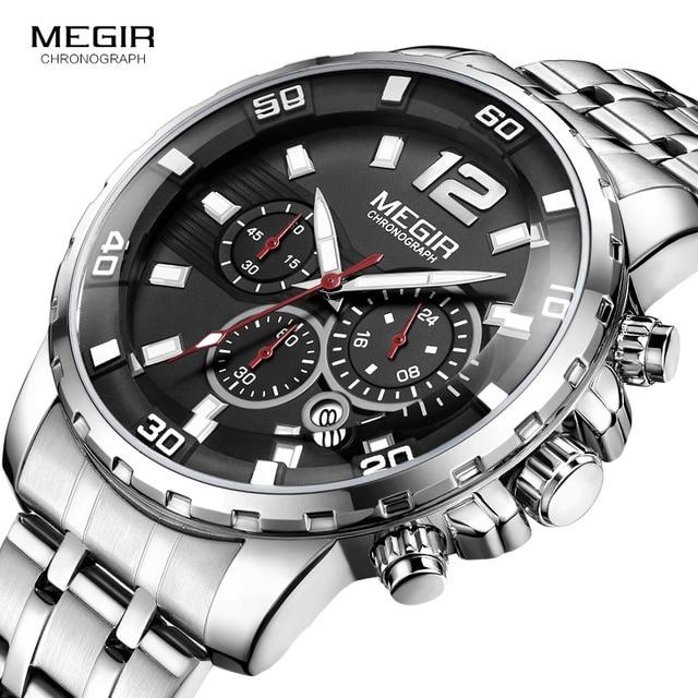 Megir Mens Chronograph Quartz Watches Stainless Steel Analogue Wristwatch for Man 24 hour Display Waterproof Luminous 2068G 1