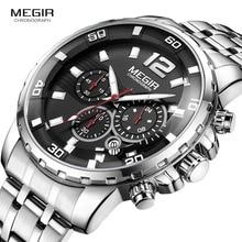 Megir relojes de cuarzo con cronógrafo para hombre, reloj de pulsera analógico de acero inoxidable, con pantalla de 24 horas, luminoso, resistente al agua, 2068G 1