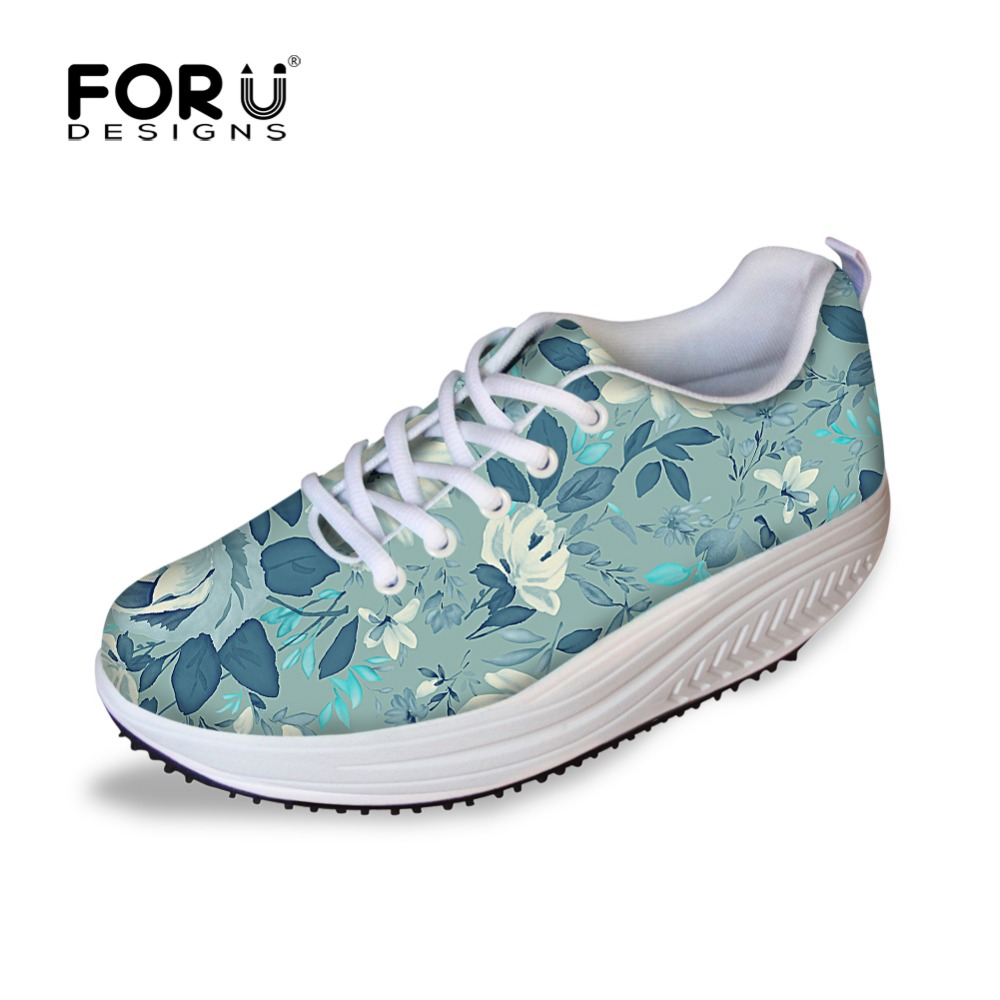FORUDESIGNS 2017 Fashion Women Flat Platform Shoes Casual Floral Pattern Swing Slimming Shoes for Woman Female Lace-up Flat Shoe 7ipupas hot selling fashion women shoes women casual shoes comfortable damping eva soles flat platform shoe for all season flats