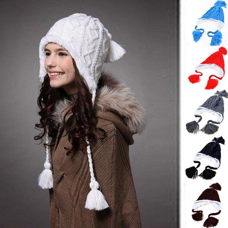 2017 Woman warm hats Cute Pompon ear winter knitted Hat Beanies Toucas Bonnet Hats Crochet Ski Cap Skullies Gorros