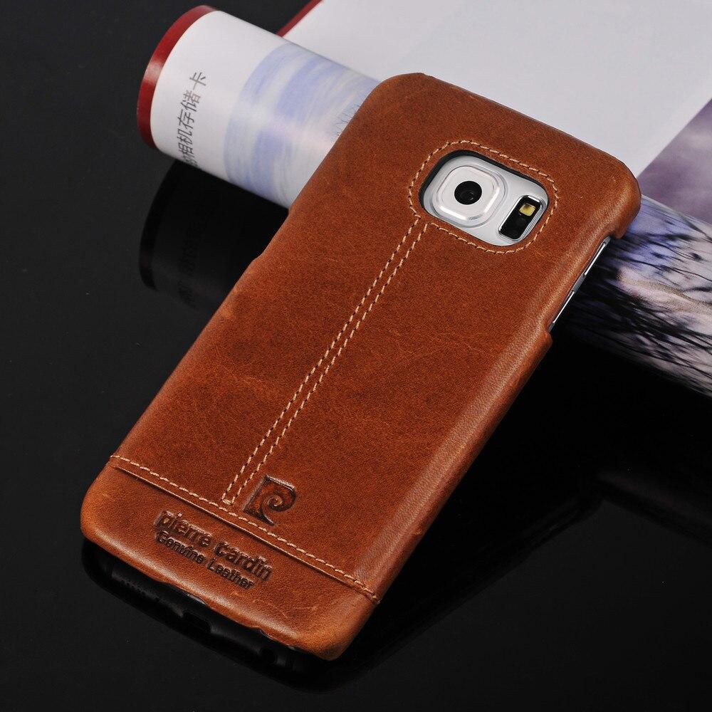 imágenes para Pierre cardin para samsung galaxy s6 s7 edge note5 s8 Plus Premium Fundas de Teléfono de Nuevo La Cubierta de La Vendimia de Lujo del Cuero Genuino case