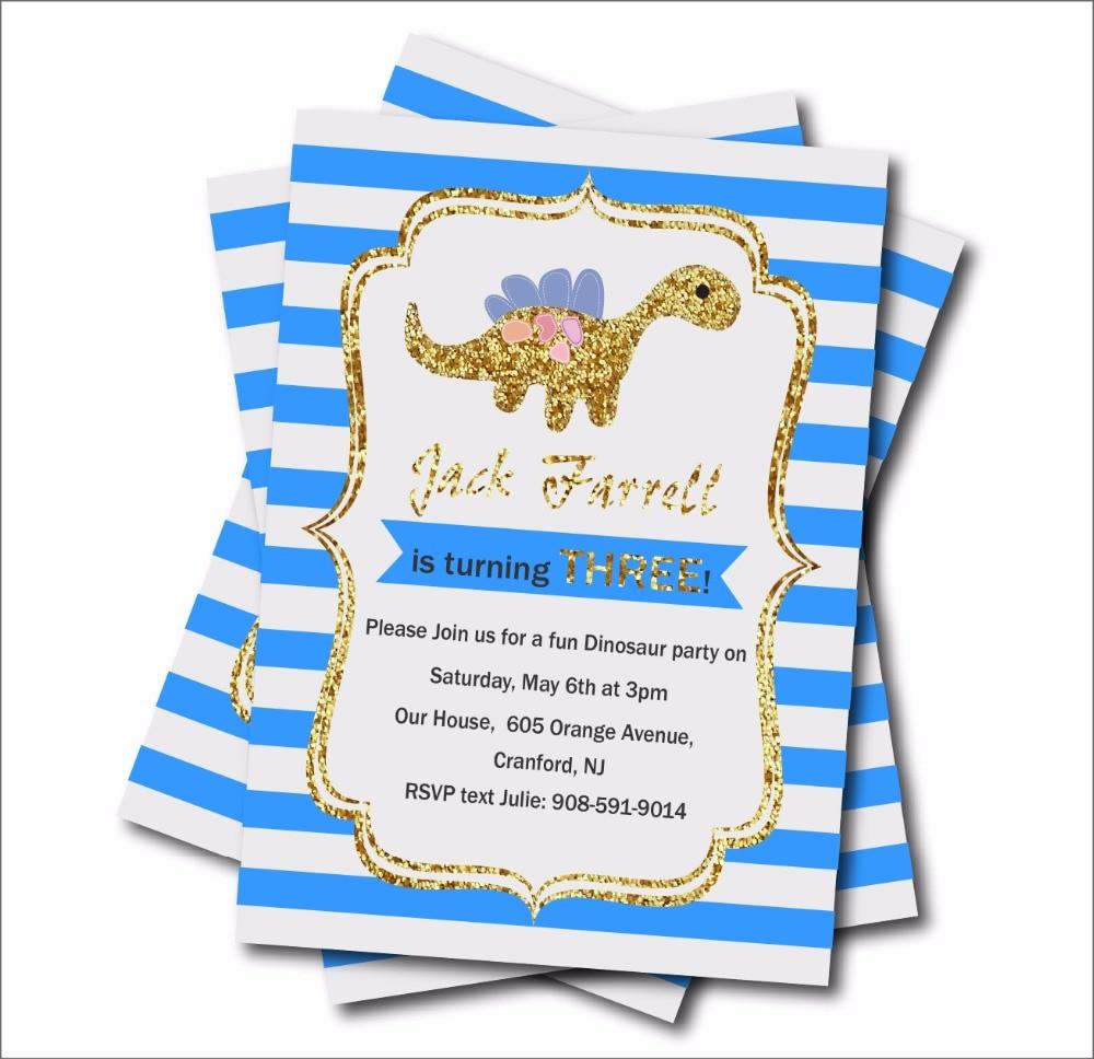 14 Pcs/lot Blue Stripe Gold Glitter Dinosaur Custom Birthday Party Invites Baby Shower Invitations Boy Birthday Party Decoration