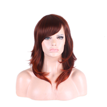 Long Brown synthetic wigs heat resistant fake hair