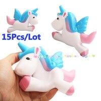 15Pcs Lot Kawaii 11CM Jumbo Unicorns Squishy Super Slow Rising Cute Phone Strap Pendant Cream Scented