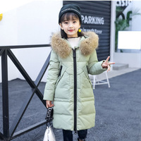 2017 New Children Winter Down Jacket For Girl Real Fur Girl Thick Long Jackets Coat Girls