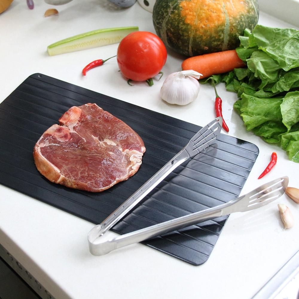 Plateau de dégivrage magique décongeler les aliments surgelés viande fruits rapide dégivrage plaque planche noir sécurité rapide dégivrage plateau de viande outil de cuisine
