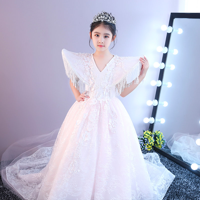 Luxury Princess Girl Ball Gown Dress Catwalk Birthday Banquet Wedding Dresses for girl Tassel Floral Lace Long Trail Dress JF585