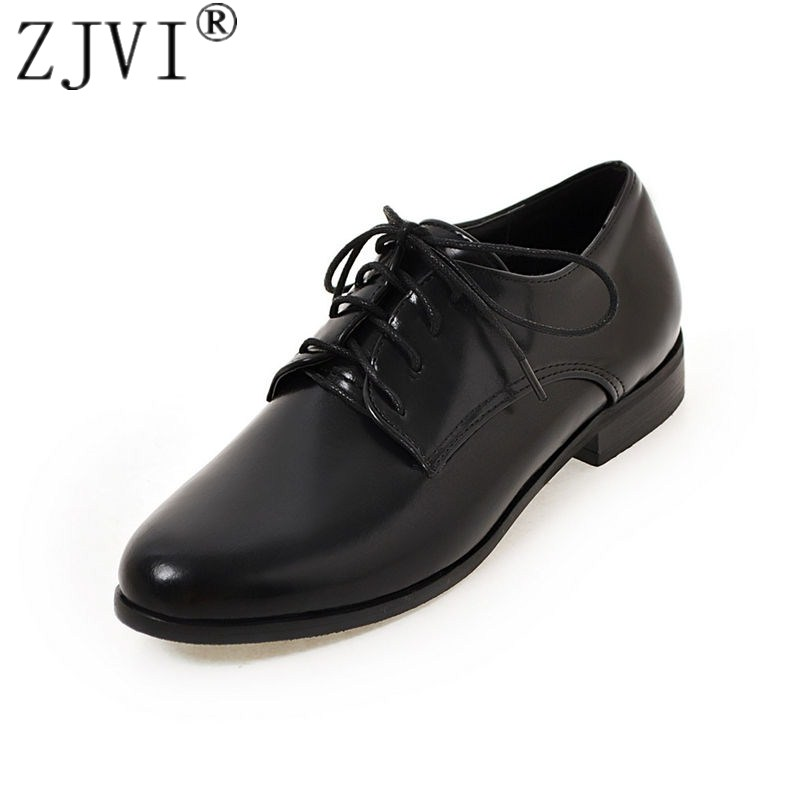 ZJVI woman round toe flats 2018 women spring autumn low heels shoes ladies women's female lace up casual shoes plus size 4-14 spring autumn chunky 4cm low heels sweet bow lolita girls shoes pincess round toe vintage shoes plus size