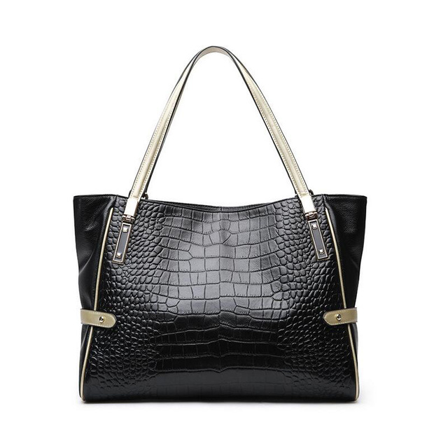 86cb722967dcc Newest Genuine Leather Luxury Handbags Women Bags Designer Female Crocodile Leather  Top-handle Ladies Casual Shoulder Bags Black