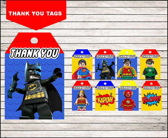 superheroes lego favor tags  lego thank you tags  gift