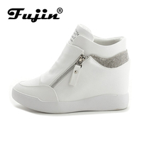 Fujin Zipper Women Boots Wedges Hide Heels Rhinestone Leather Boots Platform Shoes High Top Ankle Boots
