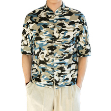 New Mens Camouflage Linen Cotton Men Shirt Retro Shirts Brand Clothing Casual Loose Male Army Camo Plus Size