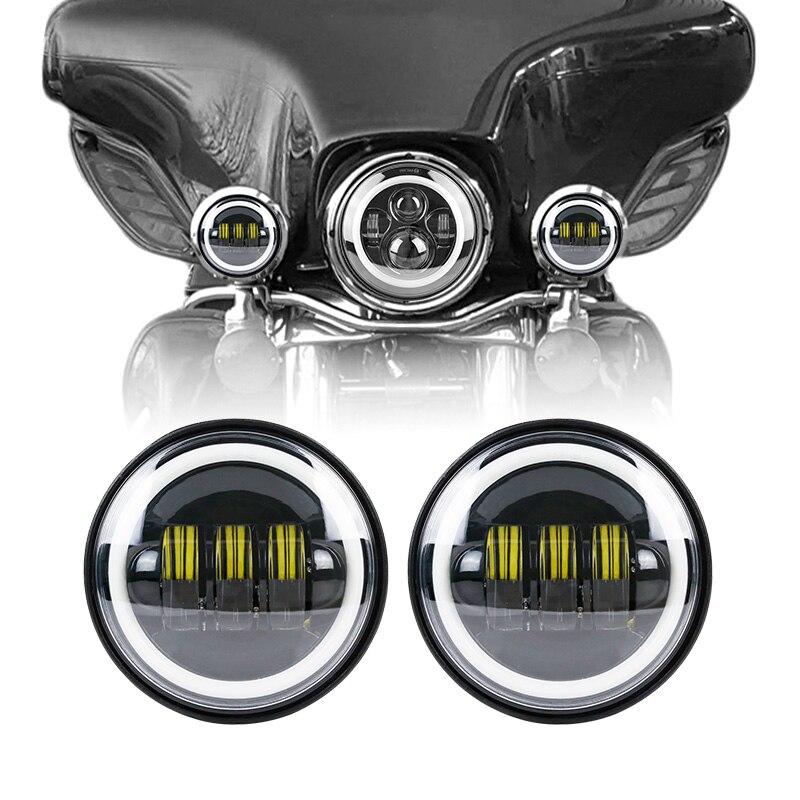Phares antibrouillard Led 4.5 pouces ampoules auxiliaires rondes avec Halo DRL pour Road king Electra Glide Softa