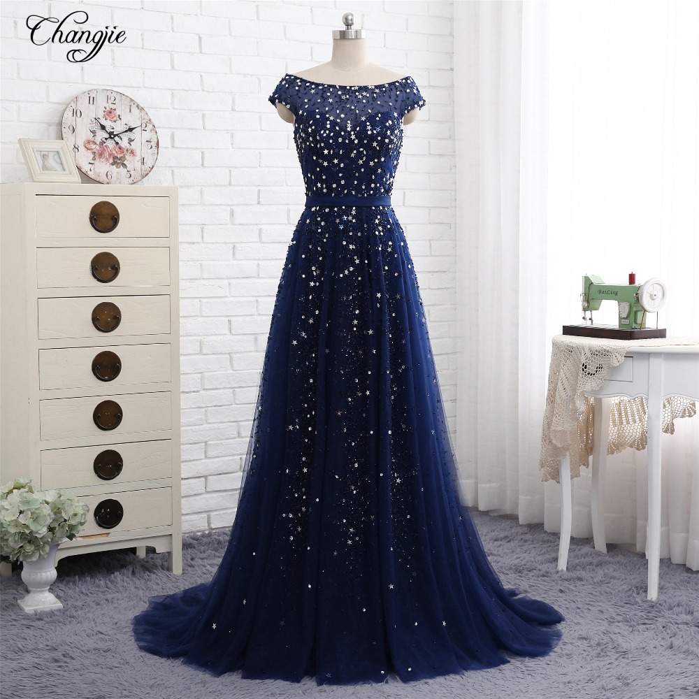 New Luxury Long   Evening     Dress   2018 Scoop Cap Sleeve A-Line Court Train Beading Tulle China Bridal Gowns Vestido longo