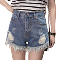 Summer Casual Vintage Hot Hole Denim Shorts Women Frayed Edges Large Plus Size 4XL 5XL Cotton Tassel Short Jeans Ripped Pocket