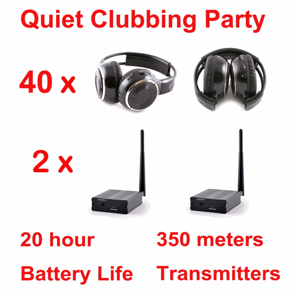Silent Disco complete system black folding wireless headphones - Quiet Clubbing Party Bundle (40 Headphones + 2 Transmitters)