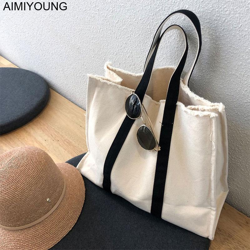 Женские холщовые сумки AIMIYOUNG, большие сумки на плечо, женские сумки-тоуты, модные дизайнерские сумки, женская сумка, женские сумки