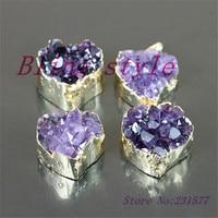 1pc High Qualilty Druzy Pendants 24k Gold Plated Heart Shape Drusy Quartz Stone Charms Pendant In