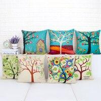 Colorful Season Life Tree Cushion Cover Car Waist Throw Pillow Cover 18x18 Inches Pillowcase Home Decor
