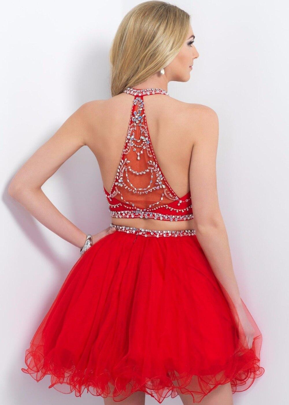 1ac6224067 Rojo con encanto cabestro corto vestidos fiesta 2016 rebordeó crystal dos  piezas de 8º grado vestido de fiesta vestidos vestido de graduación en Vestidos  de ...