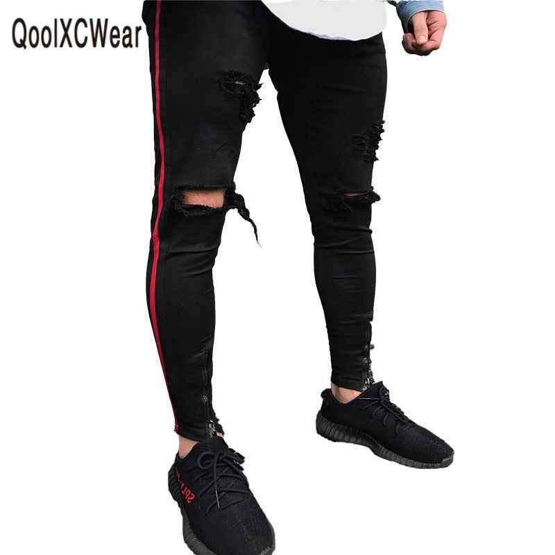 8d7fdb74cf4 Qoolxcwear мужские джинсы хип-хоп молнии гольфы стрейч рваные байкерские  джинсы хип-хоп Эластичность