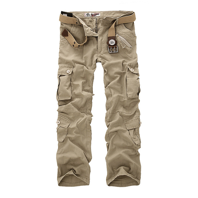 Military Cargo Pants Men Loose Baggy Tactical Trousers Oustdoor Casual Cotton Cargo Pants Men Multi Pockets Big size (no belt)