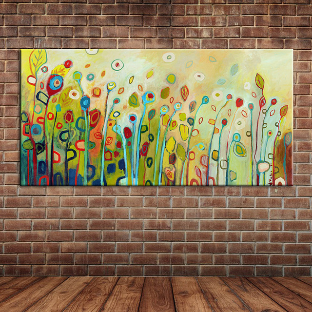 Wild Flowers Oil Painting Fabric Canvas Modern Wall Art Landscape Hand Made  Wall Picture Decoraton (