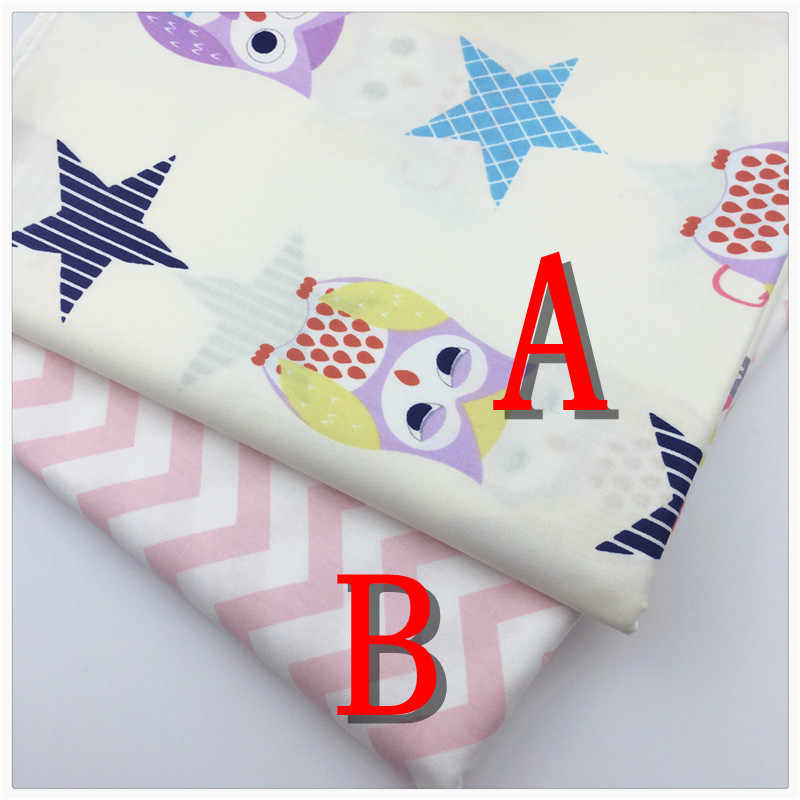 Dibujos Animados búhos estrellas tela de algodón para DIY Patchwork costura niños ropa de cama bolsas Dot tela para muñeca tilda Textiles tejido Syunss