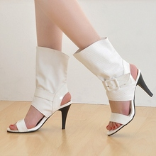 Black Red White High Heel Sandal Shoes Woman Open toe Buckle Strap Ankle Boots Summer Shoes Women Summer Boots Black Red White