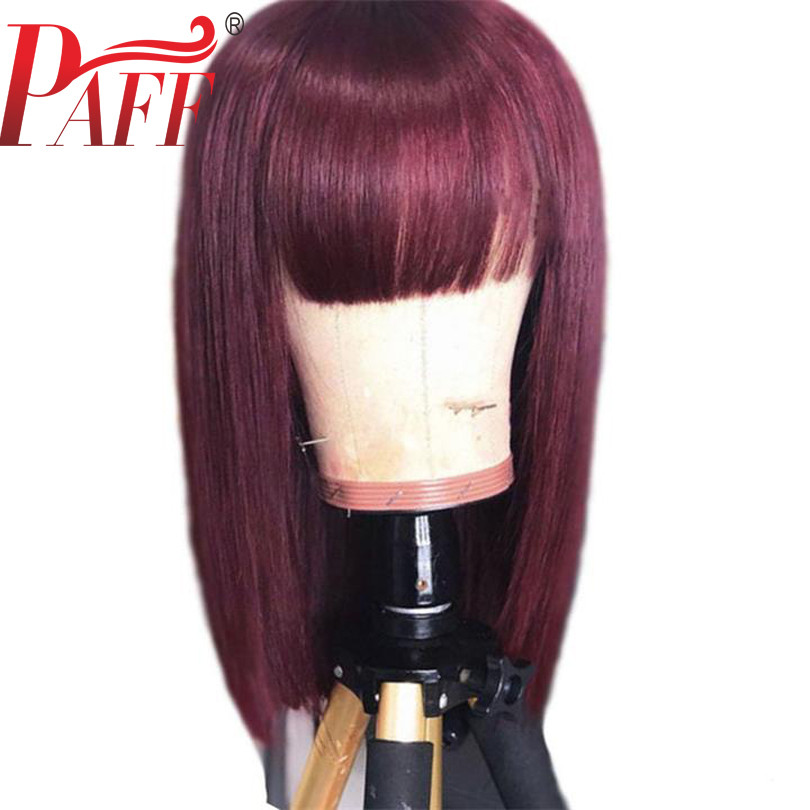 PAFF 99J Burgundy Red 13x4 Short Human Hair Wigs Pre Plucked Lace Front Bob Wig Straight Wine Red Brazilain Remy Wig With Bangs