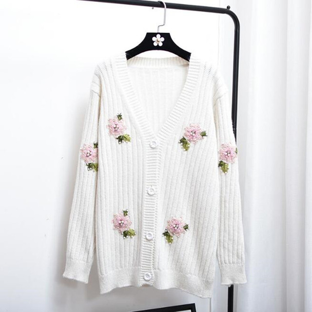 New Autumn Fashion Cardigan Flower Embroidery V Neck Loose ...