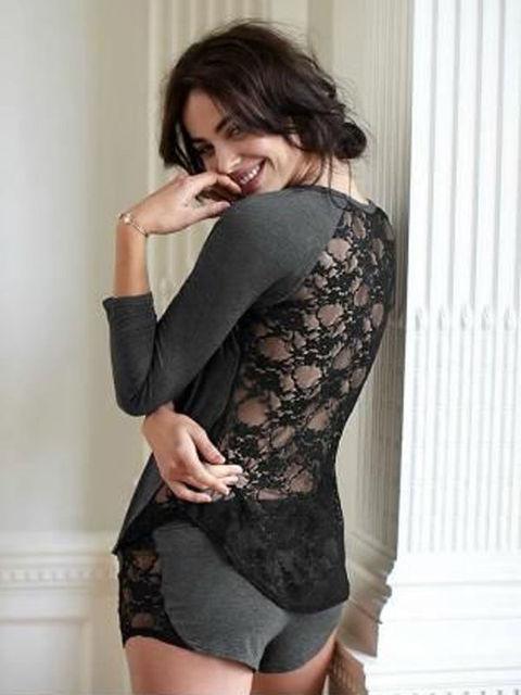 Tops Sleeve Shorts Pajamas Set Loungewear Pajamas Clothing Set Outfits Women Ladies Cotton Lace Sleepwear Nightwear