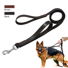 Geniune Leather Pet Dog Leash Rope Pet K9 Training Walking Lead Leashes For Medium Large Dogs Quick Control With 2 Handles