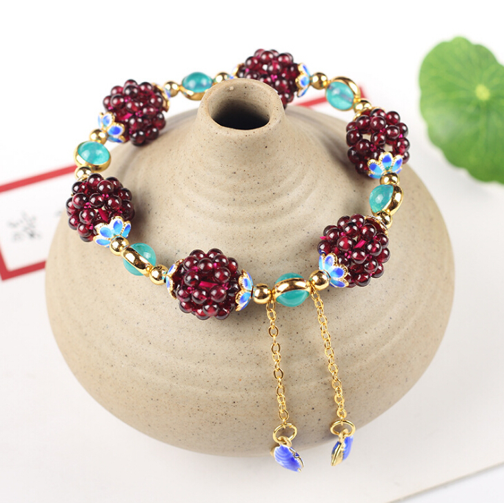 High Quality Purple Tooth AAAAAA Garnet Bracelet with Fine Enamel Cloisonne Accessories Female Bracelet Jewelry 4mm Garnet Beads