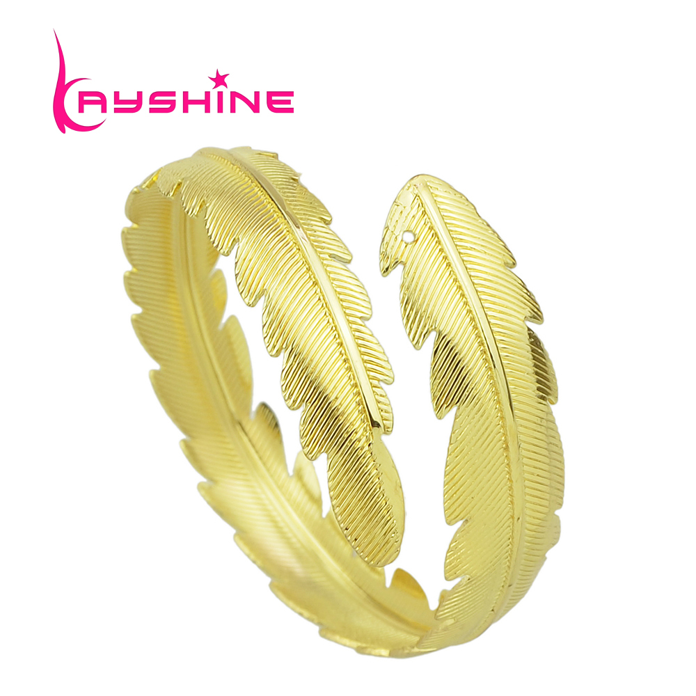 Kayshine Goldcolor Silver Color Leaf Cuff Punk Rock Bracelet And Bangles  For Women Berloques