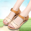 2016 Summer New Fashion Ladies Leather Comfortable Breathable Open-Toed Casual Women Big Yards