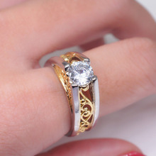 Female Fashion Austria Crystal Rings Gold Color Hollow Heart Finger Ring Wedding Engagement Zircon For Women Jewelry