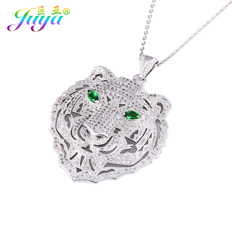 Ali Moda Micro Pave Zircon Lion Tiger Head Green/Red Eye Pendants Sweater Necklace Vintage Animal Jewelry Christmas Gifts