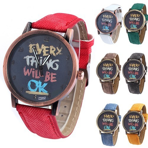 2018 New Men Women Vintage Watches Every Thing Will Be Ok Denim Band Analog Quar