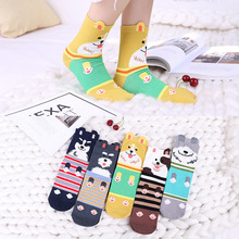 women's lovely cartoon happy Socks bear Dogs cat Animal Ankle Socks Short Casual 3d Ear Gril Socks 35-40