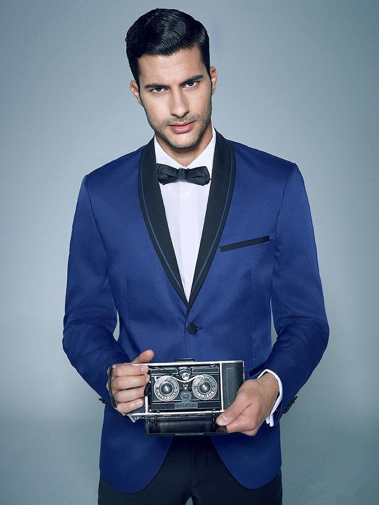 Popular Men Blue Suit with Black Lapel-Buy Cheap Men Blue Suit