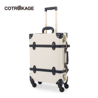 COTRUNKAGE White 20 Genuine Leather Small Carry On Suitcase Travel Rolling Luggage Trunk Aluminum Frame Luggage with TSA Lock